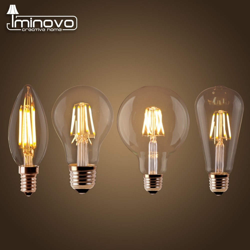 LED Filament Bulb E27 Retro Edison Lamp 220V E14 Vintage Candle Light Globe DIMMABLE