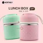 Portable Cute Mini Japanese Bento Box Leak-Proof Stainless Steel Thermal Lunch Boxs