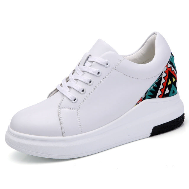 Women Sneakers fashion white Platform Shoes Genuine Leather Lace up