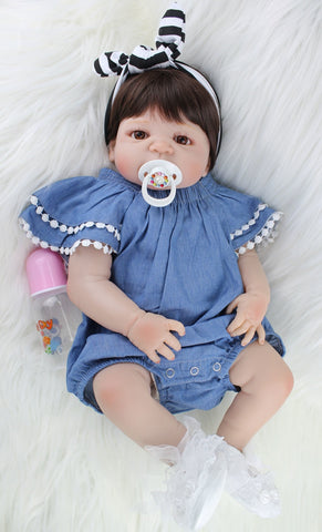 "55cm Full Silicone Body Reborn Baby Doll Toy Like Real 22"" Newborn Girl Princess Babies Doll"