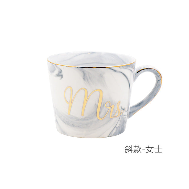 Gold Monogram Natural Marble Porcelain Coffee Mug Mr and Mrs Tea Milk Cup