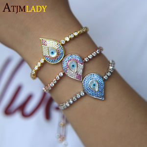 turkey evil eye Bracelets For Women Pulseira Brand hamsa evil eyes Zircon