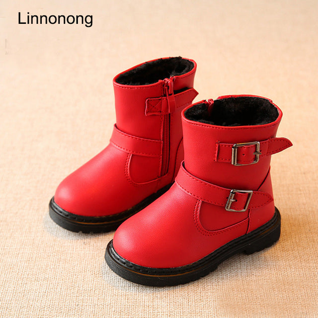 2017 New Winter Children Snow Boots For Girls Fur Boot Fashion Kids Shoes Keep Warm Toddlers Girl Leather Plush Boots Size 22-31
