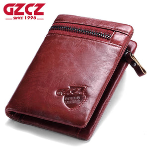 GZCZ Women Wallets And Purses Women's Genuine Leather Vallets Zipper Pouch Fashion Slim Walet Coin Pocket Portomonee Rfid