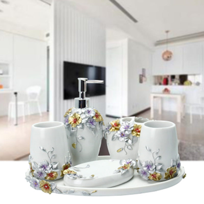 6pcs 5pcs Fashion bathroom supplies resin bathroom set of five pieces bathroom set bath tubs
