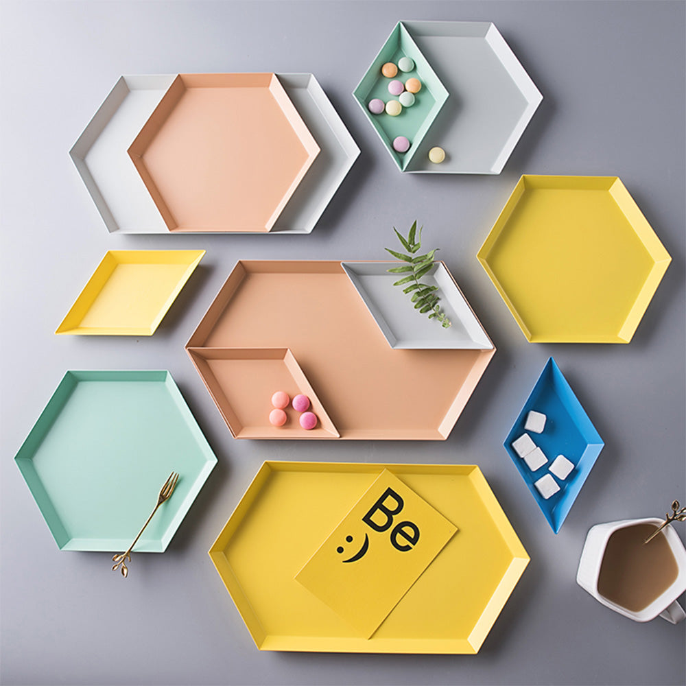 Polygon jewelry Plate Desktop Combination Storage Tray Nordic Geometric Diamond Metal Hexagonal Tea Fruit Dish jewelry Plate