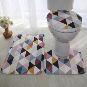 High Quality 3pcs/set Bathroom Non-Slip Rug + Lid Toilet Cover + Bath Mat