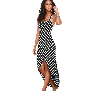 Women Summer Dress Sundress Female Striped Long Maxi Dress