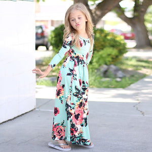 Malayu Baby Princess Long Dress Fashion Trend Bohemian Dress for Girls Beach Tunic Floral Autumn Maxi Dresses Kids Party 3-9 Y