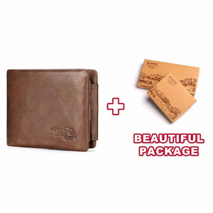 KAVIS Trifold Design Card Holder Genuine Leather Wallet Men Male Coin Purse Small Portomonee PORTFOLIO Clamp for Money Bag Perse