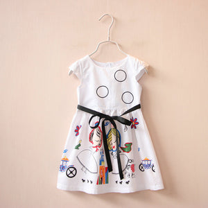 Kids Clothes Baby Girl Dress with Sashes Robe Fille Character Princess Dress Children Clothing