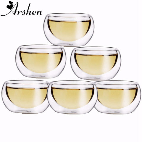 6pcs/Set 50ML Elegant Clear Drinking Healthy Cup Heat Resistant Double Wall Layer Tea Cup