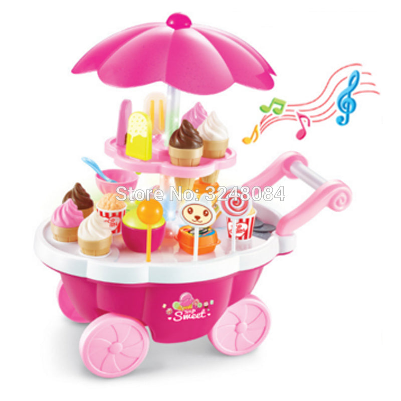 New Sale 1 Set Pretend Play Toy 39 Pcs Simulation Small Carts Girl Mini Candy Cart Ice Cream Shop Supermarket Children Baby Toy