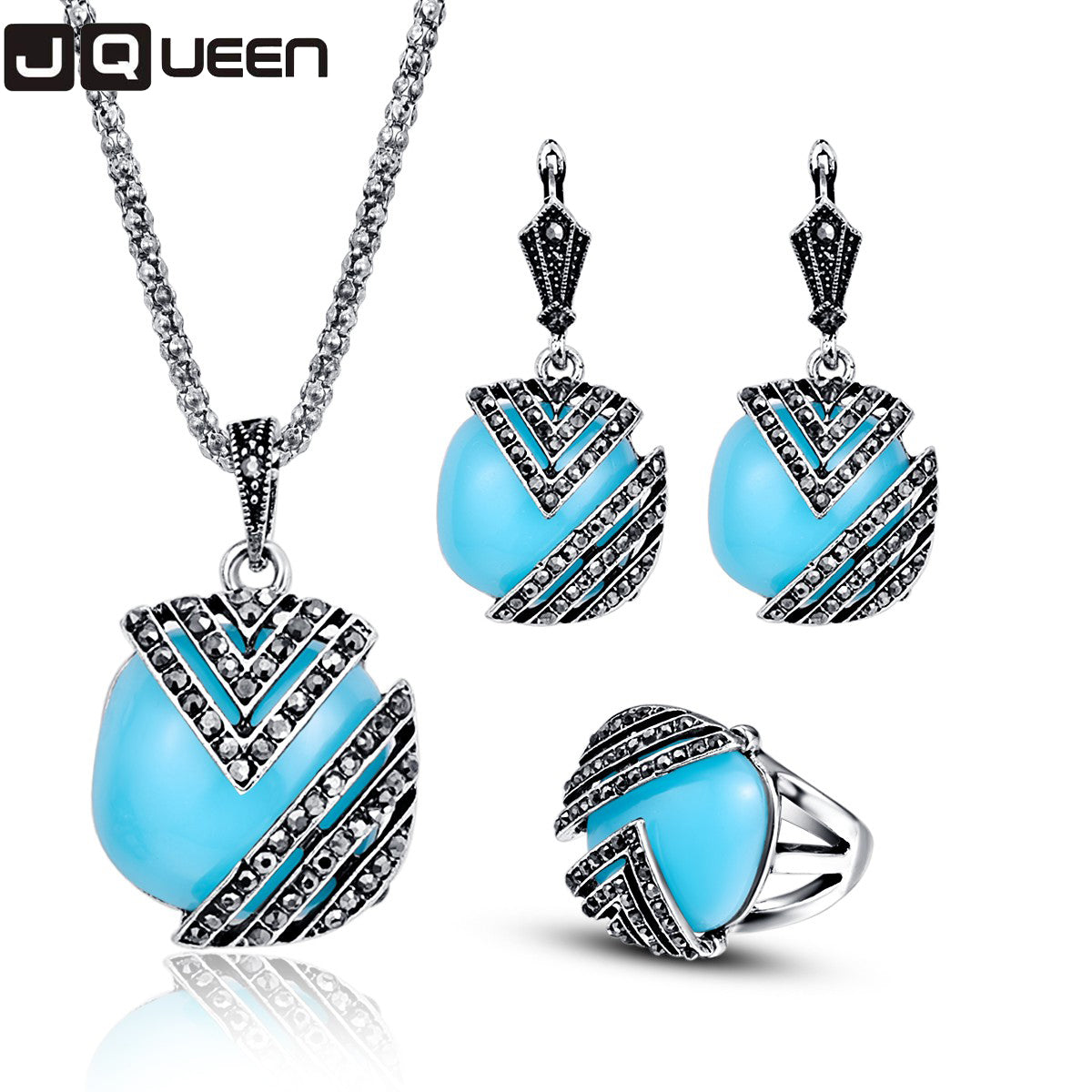 Silver Color Turkish Jewelry Set Enamel Resin Vintage Ethnic Necklace/Earrings/Ring