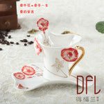 Colored mug enamel porcelain coffee disc spoon set, high-grade bone China