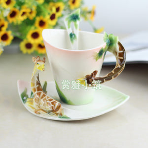 New Arrival Giraffe Coffee Cups Porcelain Tea Milk Cup Set with spoon