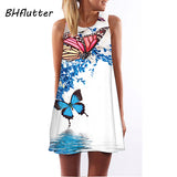 2018 Summer Dress Women Floral Print Chiffon Dress Sleeveless Boho Style Short Beach Dress