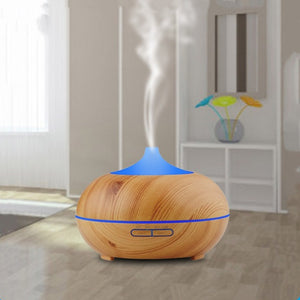 7 Color Changing LED Light Aroma Diffuser 300ML Wood Grain Aromatherapy Essential Oil Diffuser