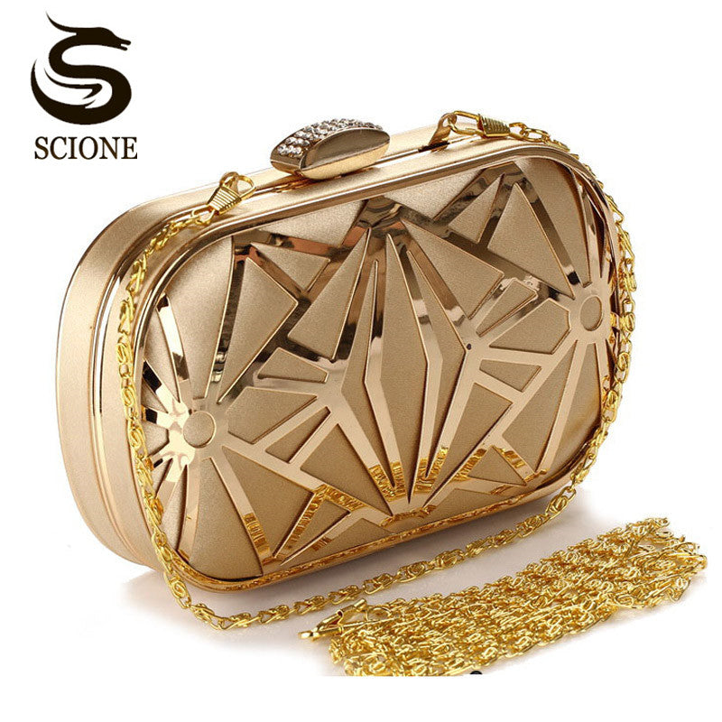 2018 Wedding Party Bags Clutches Women Gold Crystal Evening Bags Purse Factory Price Golden Clutch Bag Black Small Handbag 3030