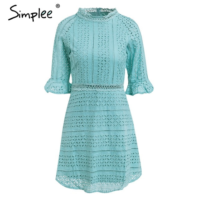 Simplee Elegant hollow out lace dress women Half sleeve summer style midi white dress 2018 Spring short casual dress vestidos