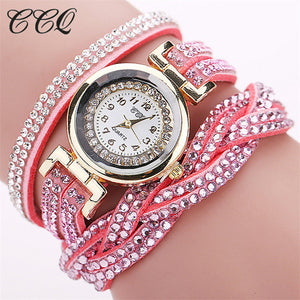 CCQ Brand Women Rhinestone Bracelet Watch Ladies Fashion Luxury Quartz Watch Fashion Casual Women Wristwatch Relogio Feminino