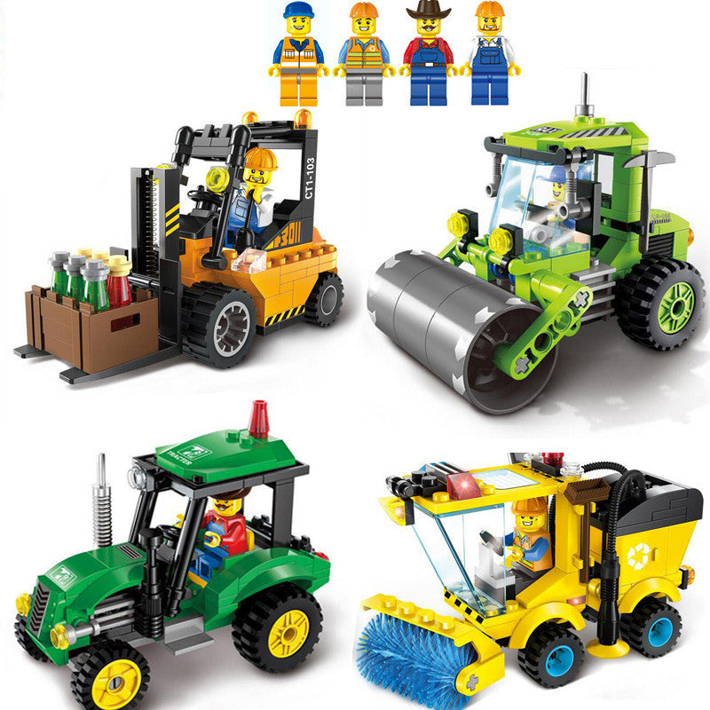 4 Type Civilized City Sweeper Legoings Model Building Blocks Toy Kit DIY Educational