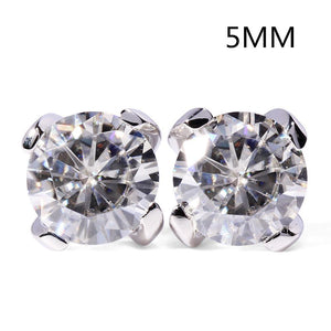 14K 585 White Gold 1ctw 5mm lab Created Moissanite Diamond Stud Earrings