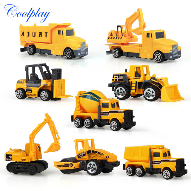 Coolplay 8Pcs/Set Mini Alloy engineering Car Tractor Toy Dump Truck Model Classic Toy Mini Gift For Boy