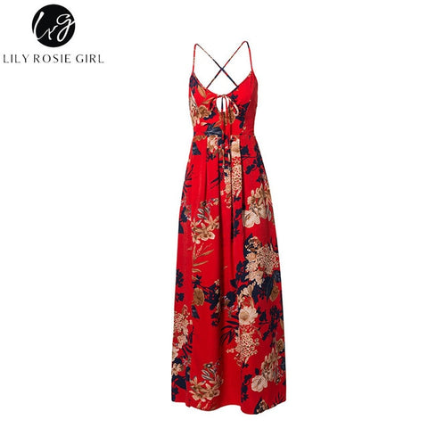 Lily Rosie Girl Red Floral Print Sexy Lace Up V Neck Women Maxi Dresses Summer Split Backless