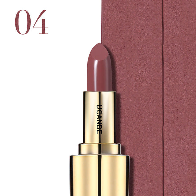 UCANBE Luxury Color Lipstick Nude Velvet Matte Lip Stick Long-lasting Moisturizer Batom Sexy Pigments Women Beauty Cosmetics