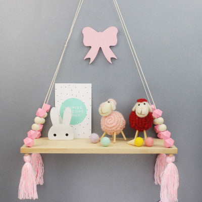 2018 Nordic Style Shelf Room Decor Wooden Swing Handmade Crafts Decorations Kids Room Wall Ornament Nursery Decorative Shelves