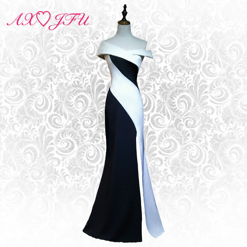 AXJFU princess white and black evening dress sexy boat neck turkey vintage evening dress luxury black trumpet evening dress
