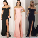 Women's Off Shoulder Casual High Waist Long Maxi Dresses Sexy Skinny Slim Party Dress