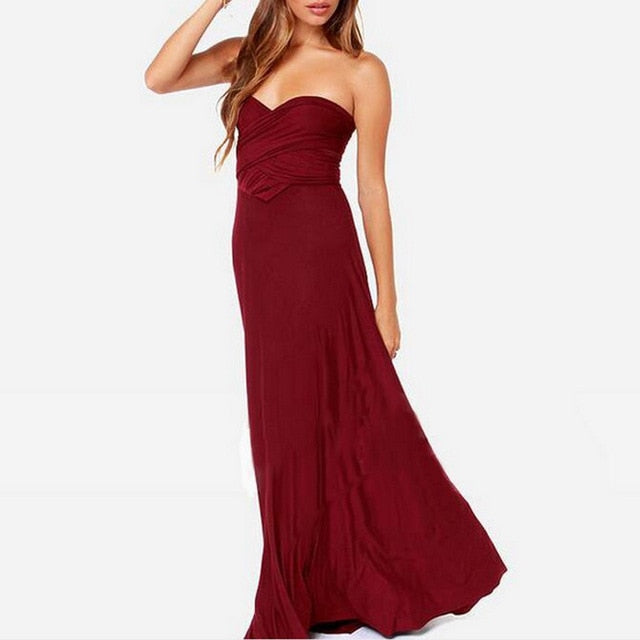 Women Bandage Maxi Dress Red Beach Long Dress Multiway Bridesmaids Convertible Wrap