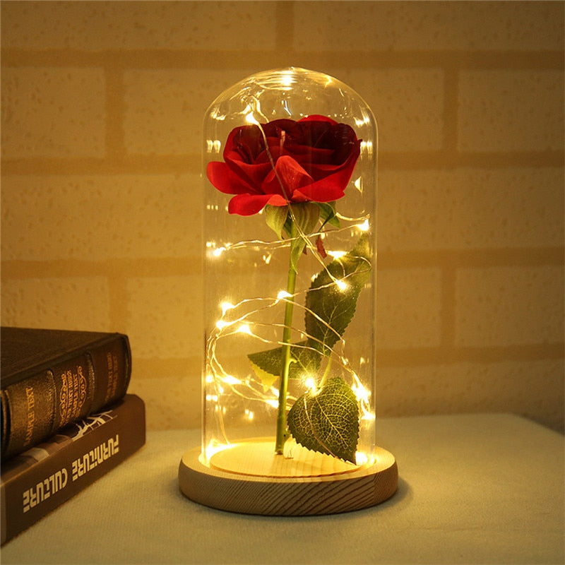 LED Flashing Luminous Artificial Preserved Rose Romantic Decorative Flower Wedding Valentine's Day