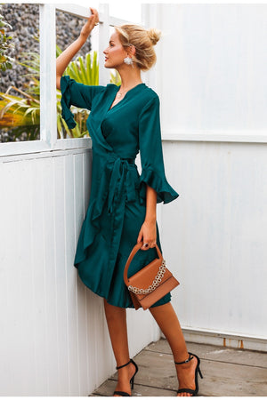 Elegant women satin dress Ruffle flare sleeve lady wrap dress Autumn winter green