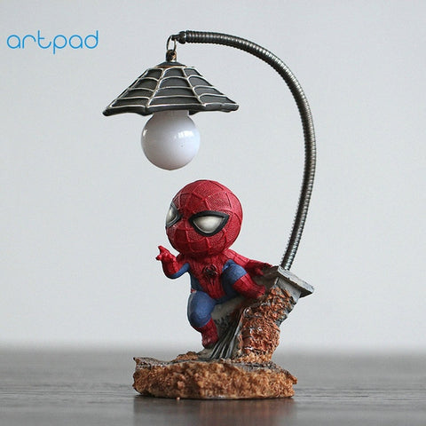 Marvel Cartoon Figure Spiderman Night Lamp With ON/OFF Switch Resin Boy LED Kids Bedroom Light