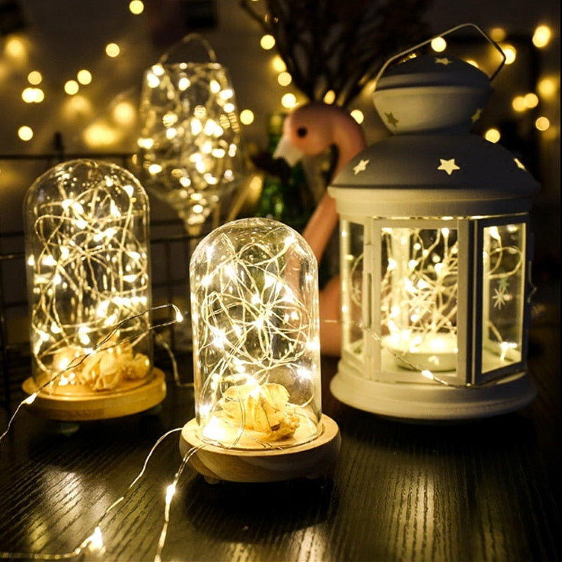 5M 50 LED Battery Operated LED Copper Wire String Lights for Xmas Garland Party Wedding
