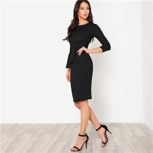 Black Elegant Bodycon Dress Women Pencil 3/4 Sleeve Autumn Clothes
