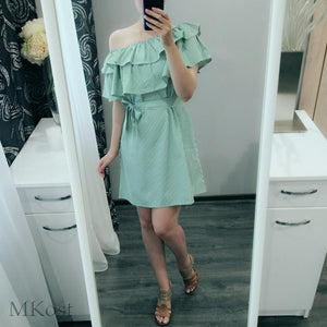 Women Dresses Striped Summer Dress Ruffle Collar Bandage Sundress Casual Sexy Bodycon