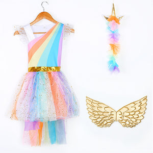 Kids Rainbow Unicorn Dress for Girls Cosplay Prom Costume Children Princess Lace Dresses