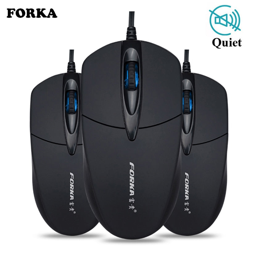 Forka Silent/Sound Click Mini Wired Computer Mouse Portable Mute Desk Optical Mouse