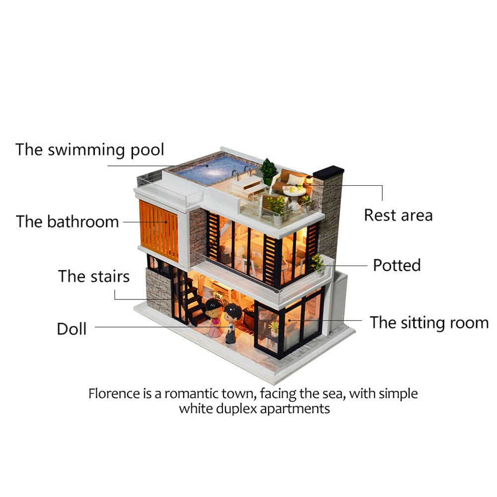 Doll House Diy Miniature Wooden Miniaturas Dollhouse Furniture Swimming Pool Building villa Kits Toys