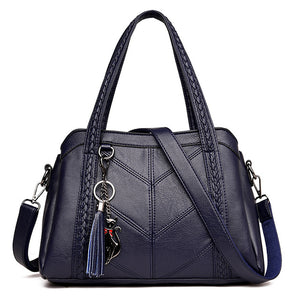 Genuine Leather Tote Bags Tassel Luxury Women Shoulder Bags Ladies Leather Handbags