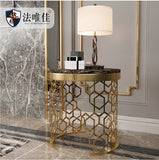 Small Coffee Table with Golden Painted Metal Stand and Marble Top