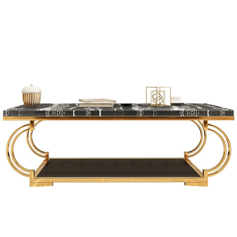 "40cm(15.7"") High Square Gilded Metal Coffee Table / 120x60cm Marble Top"