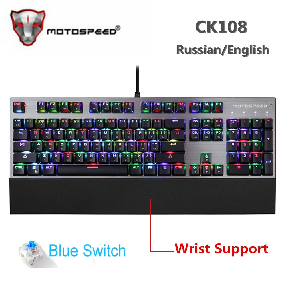 Original Motospeed CK108 Mechanical Keyboard 104 Keys RGB Blue Switch Gaming Wired LED