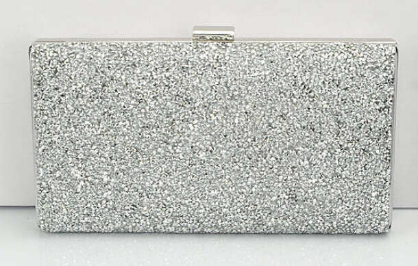 Diamond Sequin Clutch Black/Gold Silver Two Chain