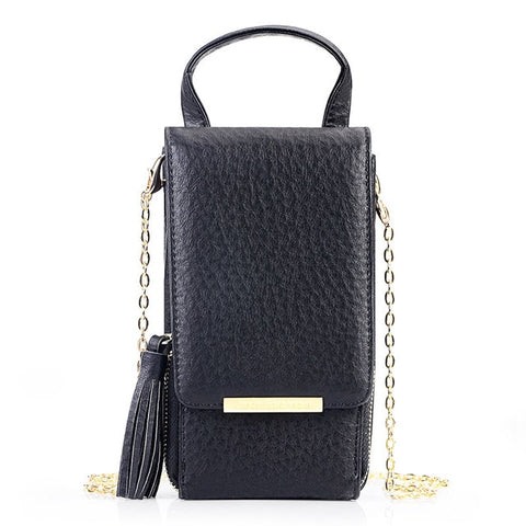 Tassel Zipper Mini Shoulder Bags For Women Lady Messenger Phone Bag