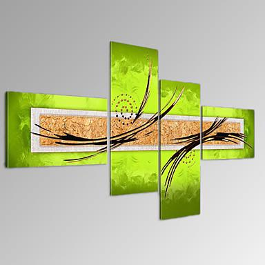 VISUAL STAR®Modern Abstract Oil Painting Set of 4 Green Lines Wall Art Ready to Hang